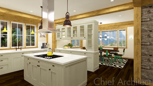 Posts and beams frame the neutrally colored cabinets in the peninsula kitchen.