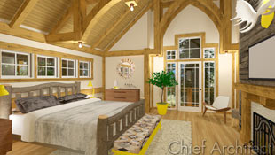 Rustic with touches of modern, a timber framed bedroom has a log bed paired with mid-century furniture.