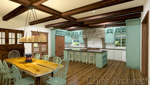 Natural wood trim, beams, and floors, slab wood furniture, and stonework kitchen hood with minty furniture and cabinets contribute to a fresh country kitchen and dining room space.