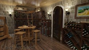 Storing treasure yet to be enjoyed, stacks of bottles, a grape press, and a tasting table fill this cobbled classic wine cellar.