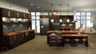 This contemporary kitchen has dark brown cabinets and bright orange counters, globe pendant lighting, and floor to ceiling windows flanking a wall of full height cabinets.