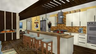 A casual contemporary galley kitchen rendered using a watercolor style that is overlaid with sketched line art.