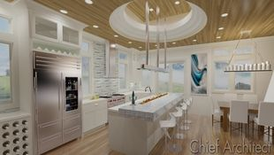 This modern kitchen ray trace illustrates a custom stepped coffered ceiling, a long recycled glass counter with built-in fireplace, built-in wine storage, and dining area all in clean whites, blues, and warm wood tones.