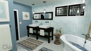 This blue bathroom looks as though it belongs on the seaside with coastal decor including conch, nautilus, and coral pieces; the hex wall tile, penny tile floors, and zig-zag rug lend structured interest to the space.