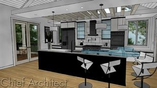 This contemporary vaulted kitchen is rendered in a Watercolor technique that is overlaid with sketchy lines to make it look hand-drawn and colored.