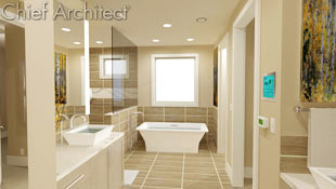 An enviable master bathroom in beige has oversized tiles on the floor and partially up the all, a soaking tub, walk-in shower, and separate his and her vanities with room to move.
