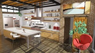 An industrial looking kitchen with aged oak flooring and tall ceiling veiled with an overhead grid, hints at floor to ceiling windows and provides a functional utilitarian spaces with open shelving, professional grade appliances, and a sliding barn door access to the adjoining room.