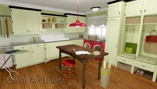 A fresh and retro take on a laundry and craft room includes plenty of storage in celery green cabinets, black crown molding, pops of red via appliances and light fixtures, and a coat cubby niche.