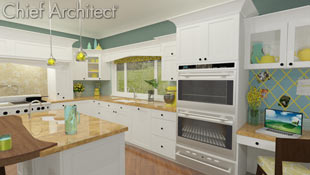 A simple kitchen in white, teal, yellow, and gold has an island with walnut bar overhand, a homework station, and an extra bar sink.