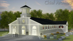 This church rendering includes a steeple, stained glass windows, wrapped concrete stair entrances, and meandering walkway, all foreground to a glowing sunset.