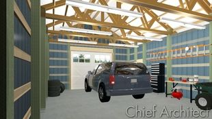 A post and beam steel structure typical for shop or garage space in rural communities.