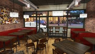 A small, cozy café or pub waits for customers for the evening in this rendering that includes exposed ductwork, worn brick side walls, and lots of booth seating.