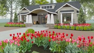 Exterior rendering of the Albertson house with a barrel roof entry, shed dormer, flanking box windows, and red and pink tulips in the front beds.