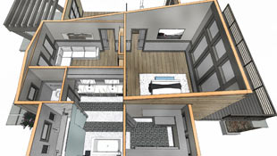 overview illustration shows a bathroom's future remodel in a technical drawing style overlaying the original room's layout