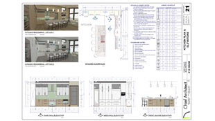 blueprint page that includes rendering options, dimensioned elevations, a floor plan, and detailed notes and legend