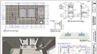 Blueprints featuring designs for an ADA accessible kitchen and bathroom design, conforming to NKBA Design Guidelines.
