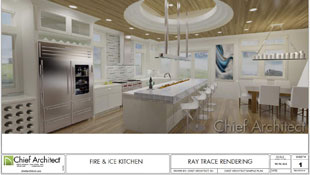 kitchen design with trey ceiling, commercial refrigerator, wine storage, and island with built-in fireplace adjacent to dining area
