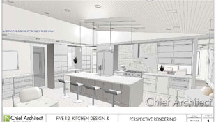 An illustrated kitchen design with a vaulted ceiling and an island accented with pendant lights; pass-through cabinets are a feature on the far wall