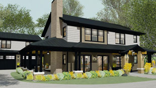 A fresh take on craftsman style home with a modernized twist, this house has stained shingle siding, a wrap-around porch and garage attached via breezeway.
