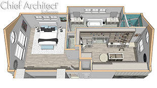 perspective overview of a large bedroom with attached bathroom and walk-in closet in shades of white and beige