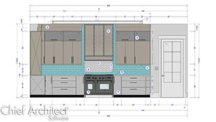 dimensioned wall elvation view of white and beige kitchen wall with teal backsplash tile