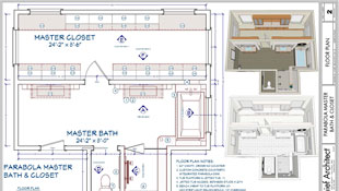 A dimensioned master bathroom and closet floor plan with a cabinet schedule and rendered overviews