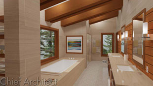 warm brown tones in a master bathroom with exposed beams, a tub platform, and picture windows