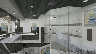 A master bathroom with dark gray accent colors, contemporary pendant lighting, curbless steam shown, and lounge bench