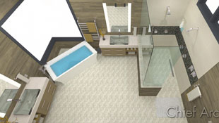 primary bathroom with open layout, freestanding tub, corner window, and walk-in shower in neutral colors