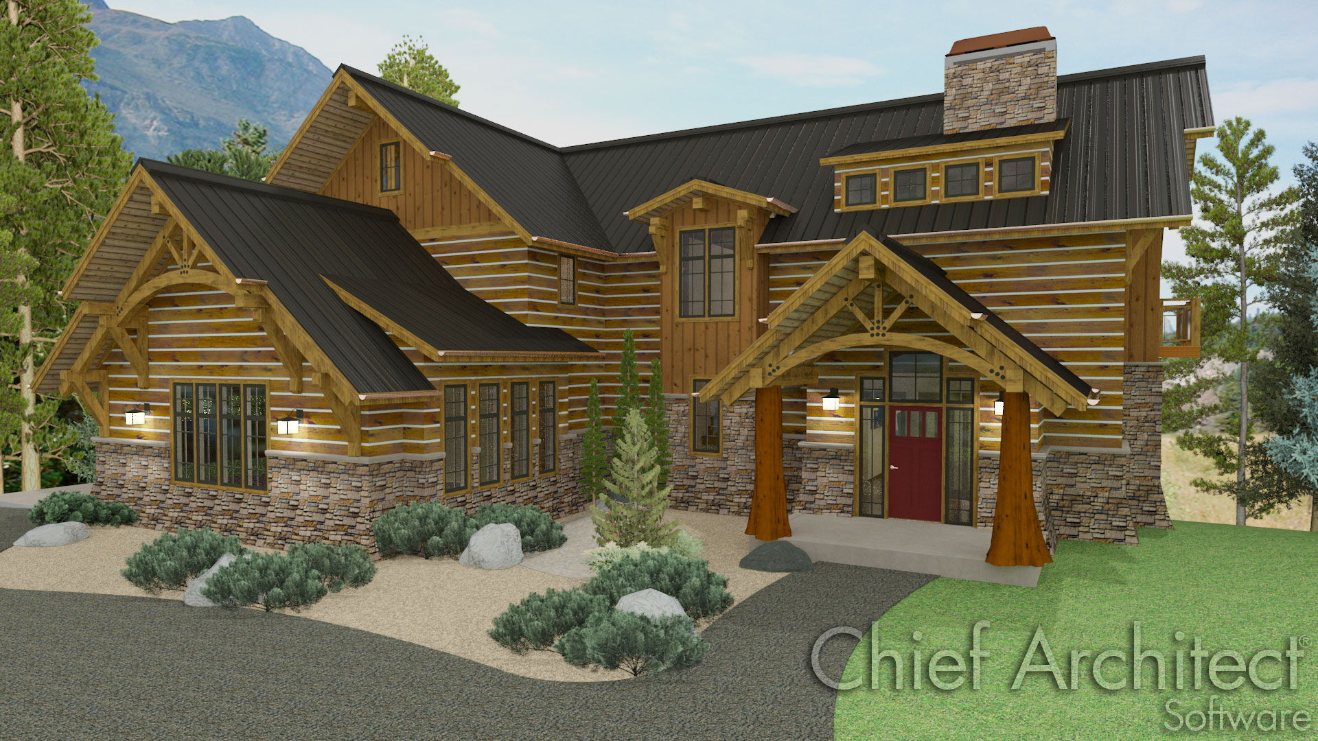 timber home design.  on timber frame construction in the form of a classic mountain home with shed dormer prow roof overhangs custom trusses log siding chinking Chief Architect Home Design Software Samples Gallery