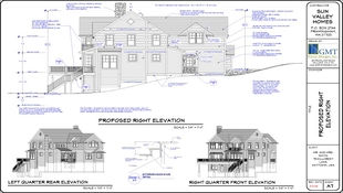 A detailed page from a blue print has an elevation of a home on a sloped lot with dimensions, markers, and notes for construction along with quarter angle elevations to hint at the overall structure's composition.