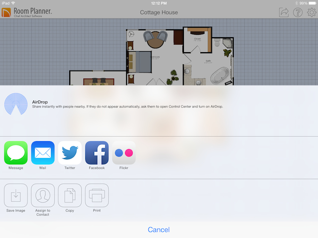 You can add text arrows and dimensions your Room Planner plan and then share your drawing in a variety of ways.